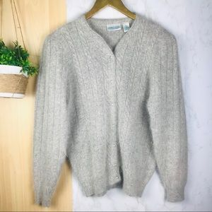 Vintage angora rabbit hair/ wool sweater cardigan